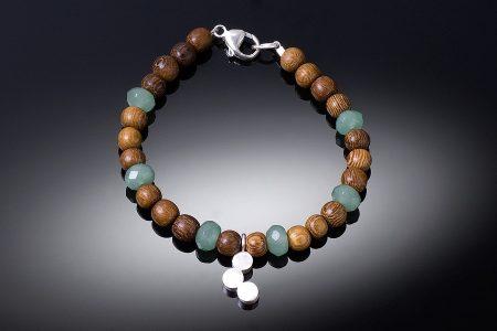 3 Dot Wood and Gem Bracelet