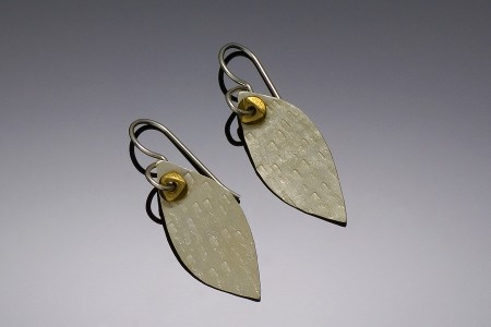 Leaf & Brass Bead Earrings