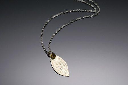 Leaf & Brass Bead Necklace