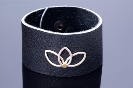 Lotus Leather Cuff Bracelet