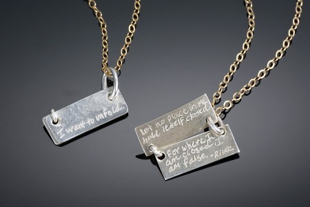 Rilke Quote Tiny Book Necklace